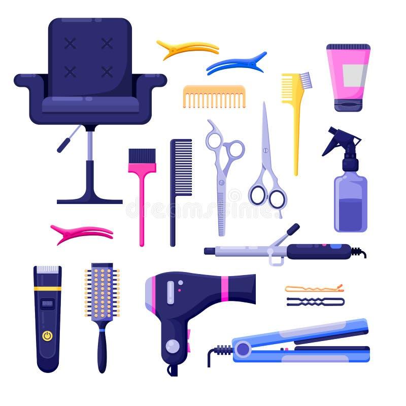 Elementen van het de pictogrammen vectorontwerp van de schoonheidssalon de kleurrijke De hulpmiddelen en het materiaal van de haa vector illustratie