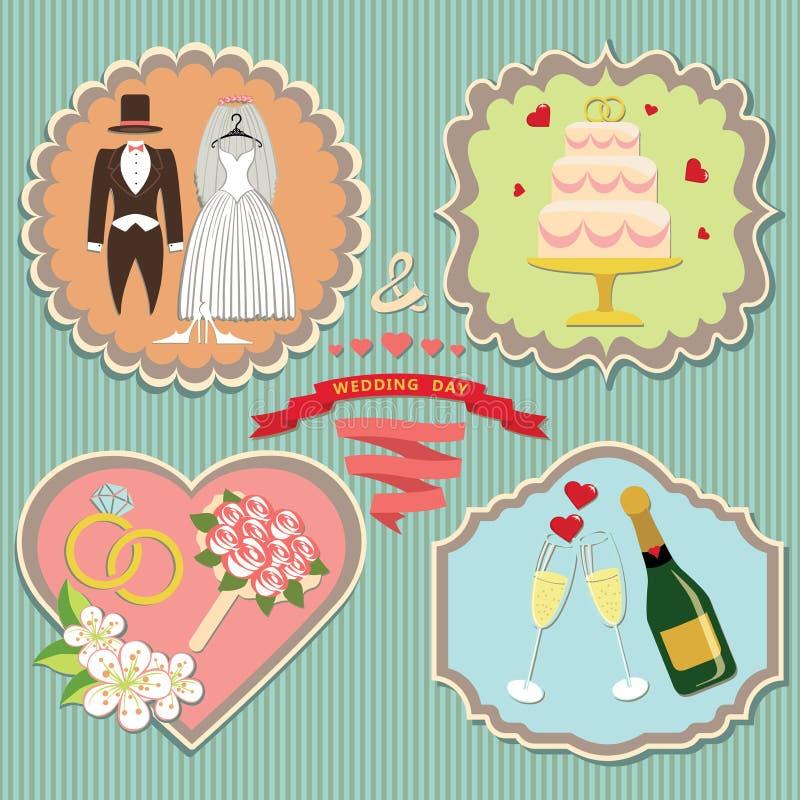 Elementen van het etiket de vastgestelde huwelijk. Wijnoogst royalty-vrije illustratie
