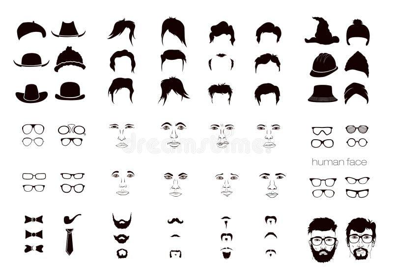 Elementen van het gezichtsmensen van een persoon vector illustratie