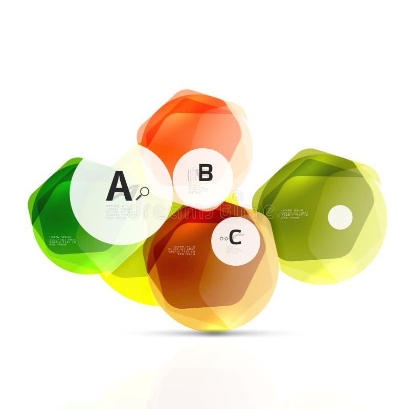 Elementen van het glas de glanzende glanzende hexagon Web royalty-vrije illustratie