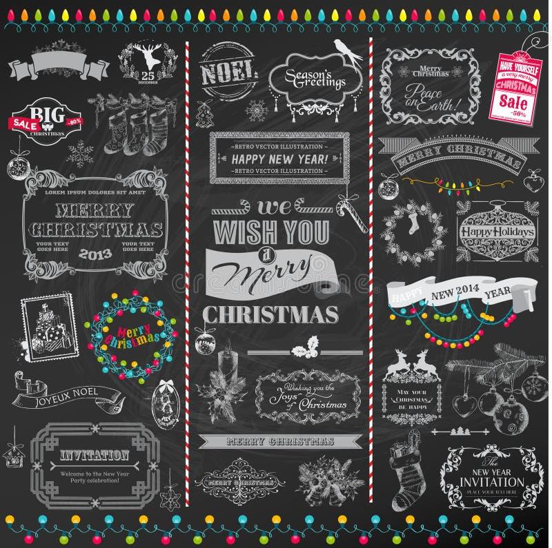 Elementen van het Kerstmis de Kalligrafische Ontwerp royalty-vrije illustratie