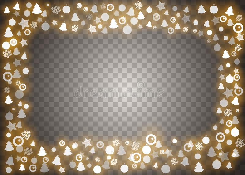 Elementen van het Kerstmis de lichten ge?soleerde ontwerp Het gloeien lichten voor de kaarten van de Kerstmisvakantie, banners, a vector illustratie