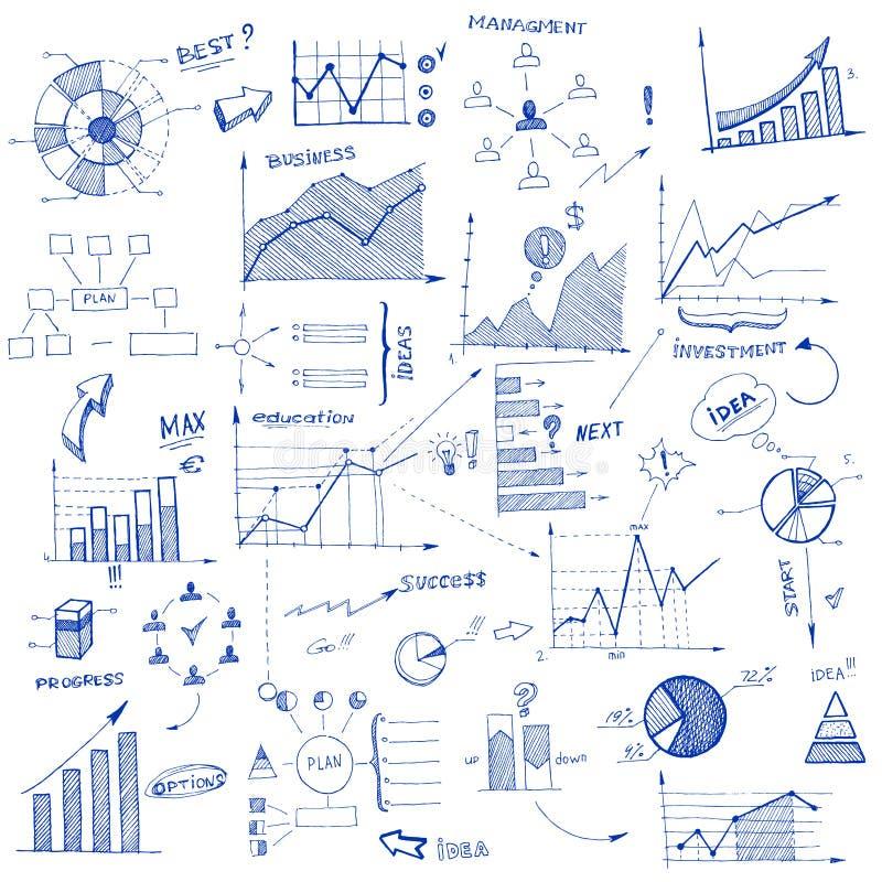 Elementen van het krabbel de infographic ontwerp stock illustratie