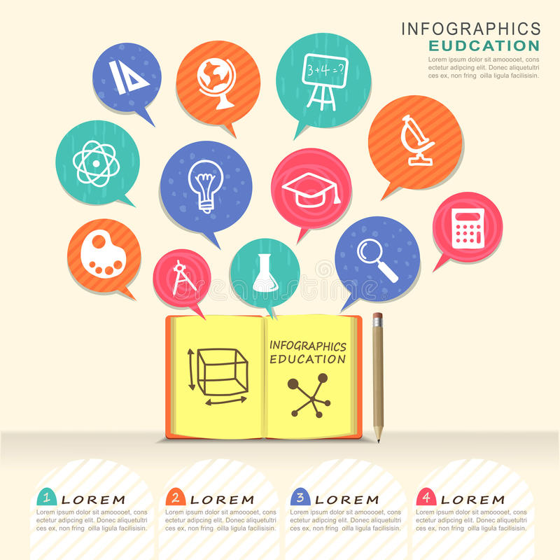 Elementen van het onderwijs de infographic ontwerp met boek en toespraak bubbl stock illustratie