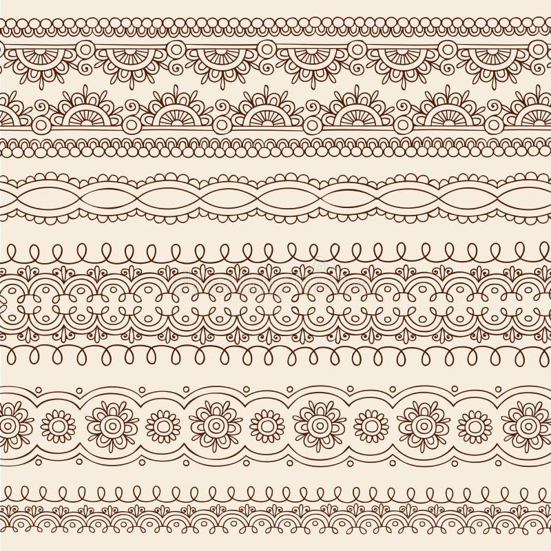 Elementen van het Ontwerp van de Grens van de Krabbel van Mehndi van de henna de Vector royalty-vrije illustratie