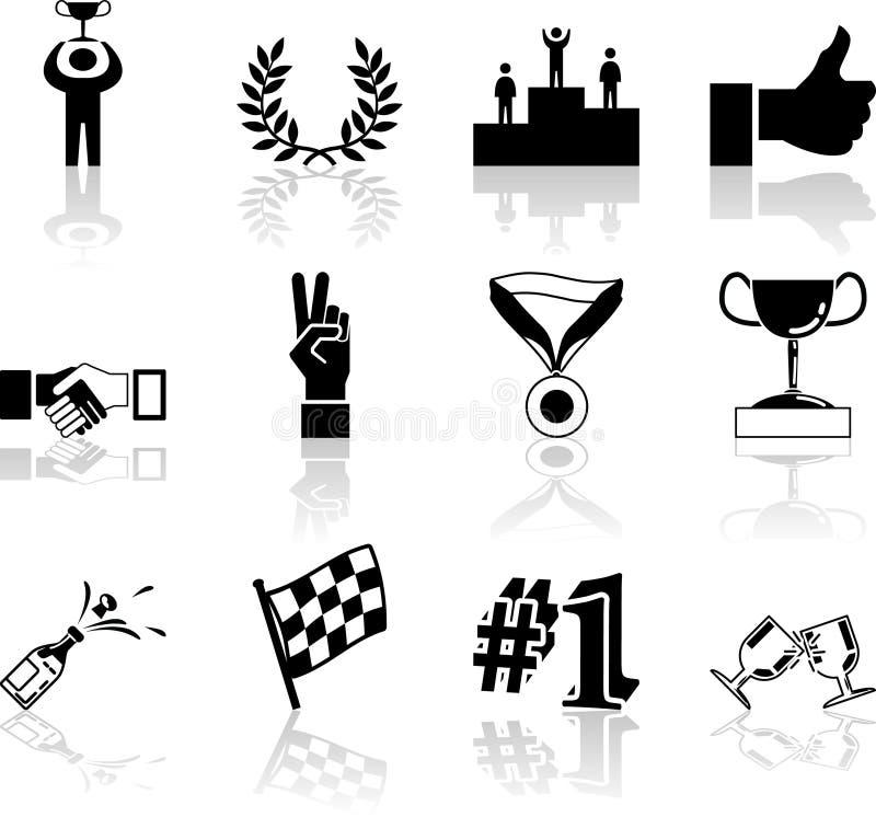 Elementen van het Ontwerp van de Reeks van het Pictogram van de overwinning en van het Succes de Vastgestelde stock illustratie