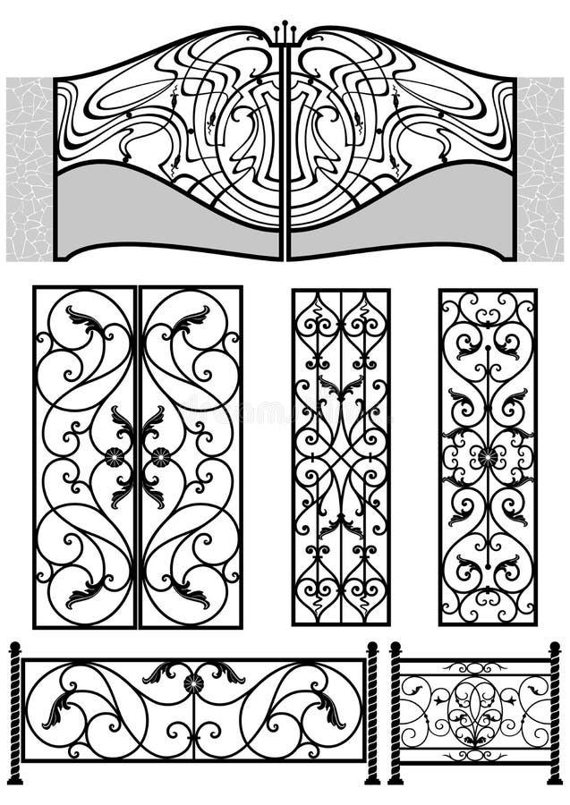 Elementen van het smeedijzer retro decor stock illustratie