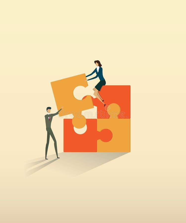 Elementen van het het vennootschap de verbindende raadsel van bedrijfsgroepswerkmensen royalty-vrije illustratie
