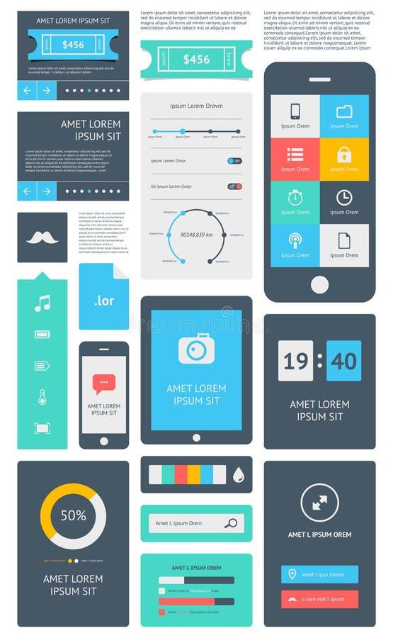 Elementen van Infographics met knopen en menu's royalty-vrije illustratie