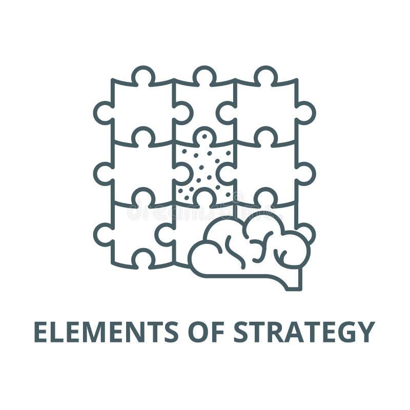 Elementen van pictogram van de strategie het vectorlijn, lineair concept, overzichtsteken, symbool royalty-vrije illustratie