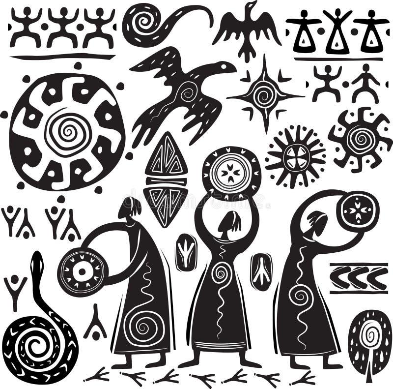 Elementen voor het ontwerpen van primitief art. royalty-vrije illustratie