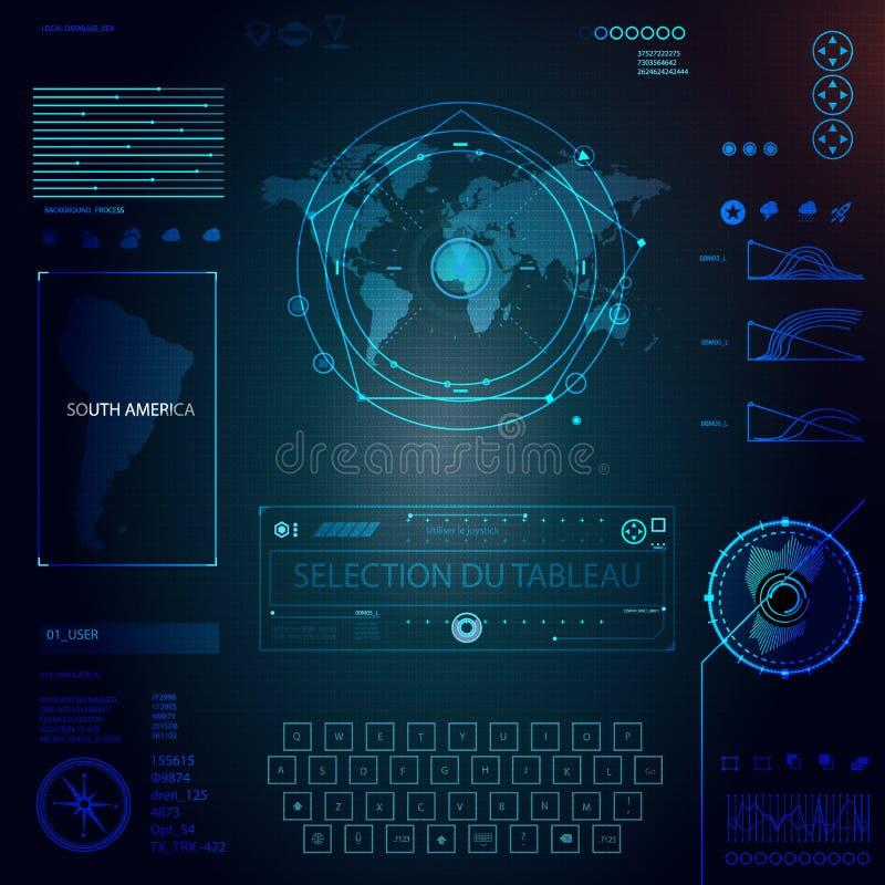 Elementen voor Infographics HUD Sci Fi Interfaces worden geplaatst dat royalty-vrije illustratie