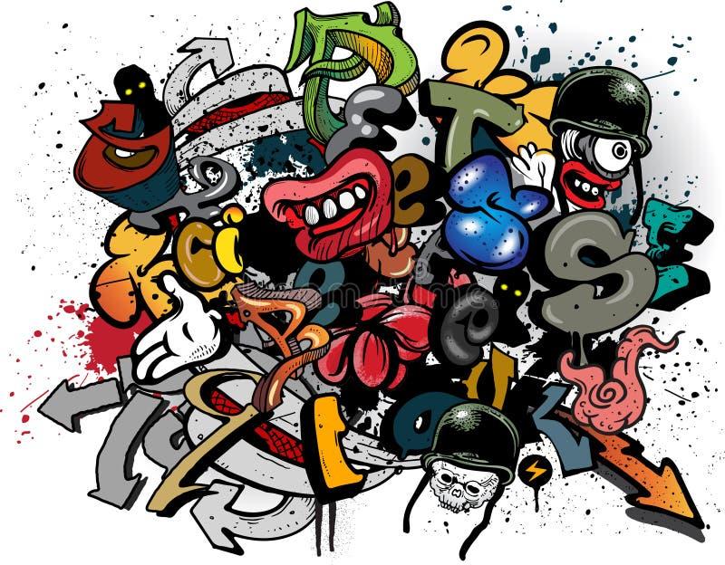 elementgrafitti stock illustrationer