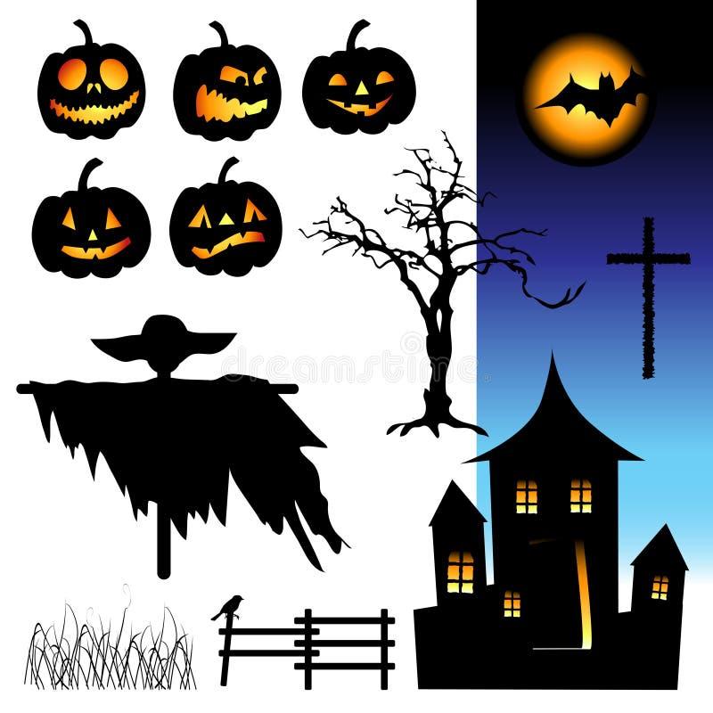 elementhalloween natt stock illustrationer
