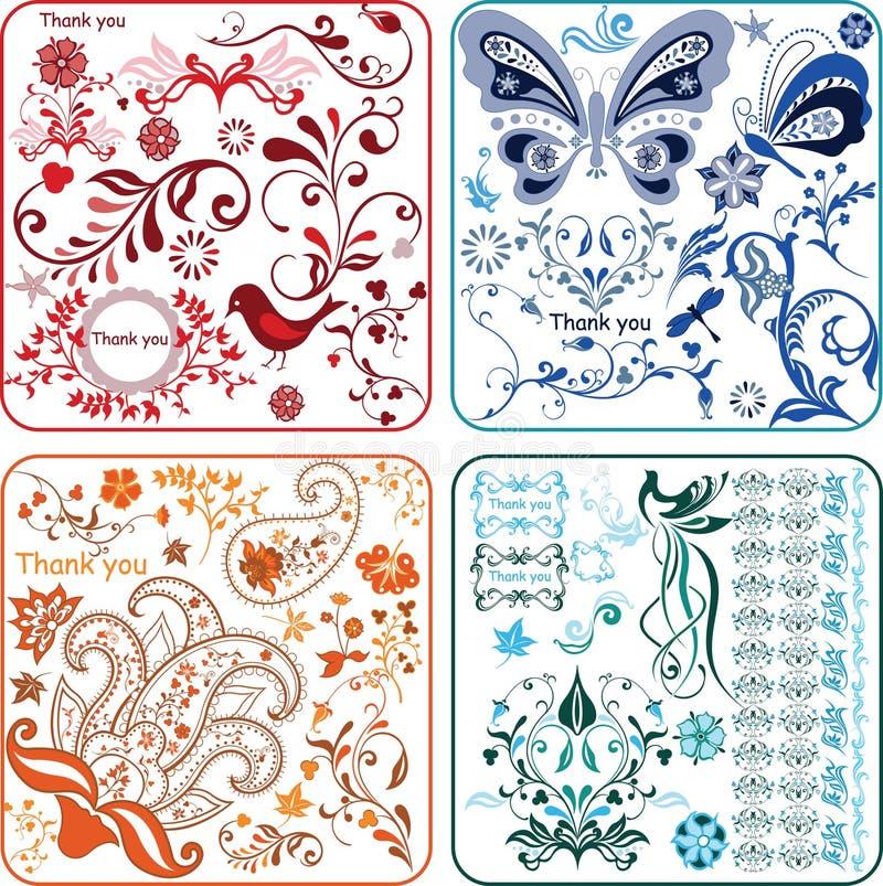 Elementi 2/2 di disegno floreale illustrazione vettoriale