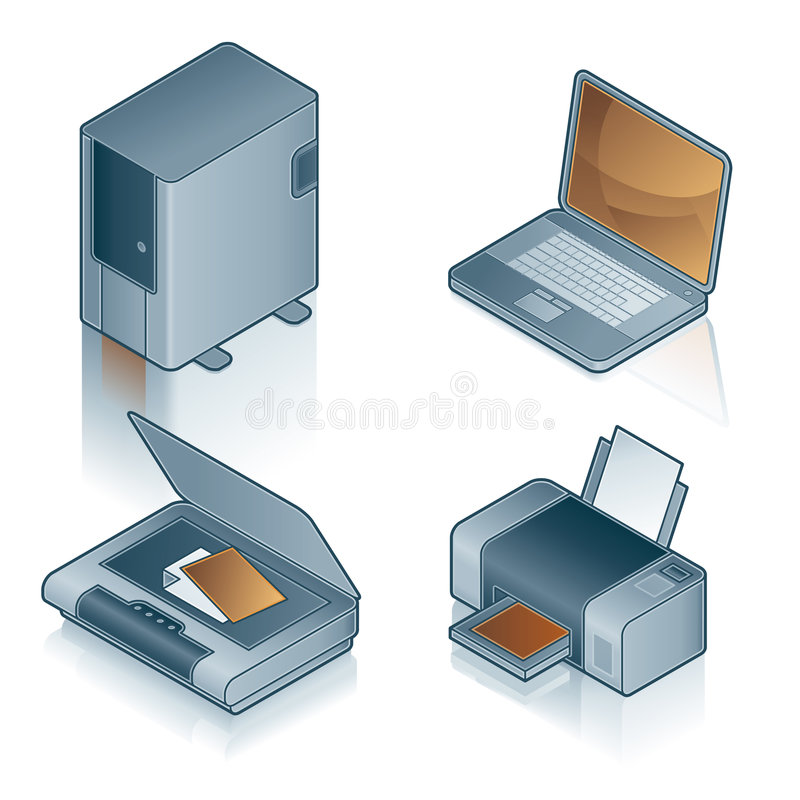 Elementi 44a di disegno. Icone del calcolatore impostate illustrazione vettoriale