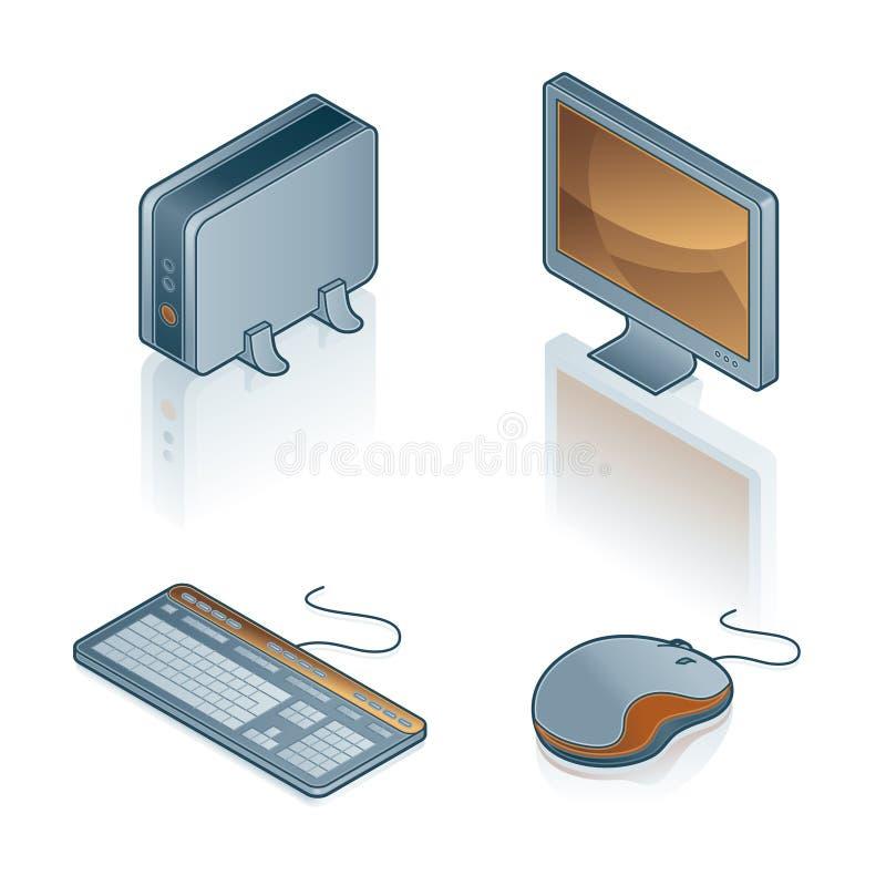 Elementi 44b di disegno. Icone del calcolatore impostate illustrazione vettoriale