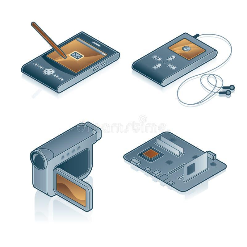 Elementi 44c di disegno. Icone del calcolatore impostate illustrazione vettoriale