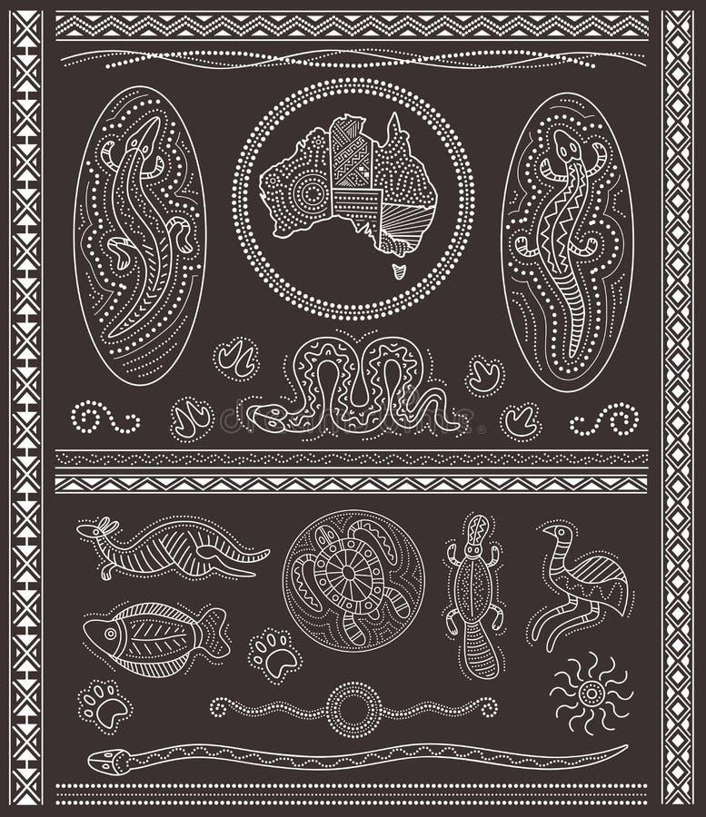 Elementi aborigeni di progettazione illustrazione di stock