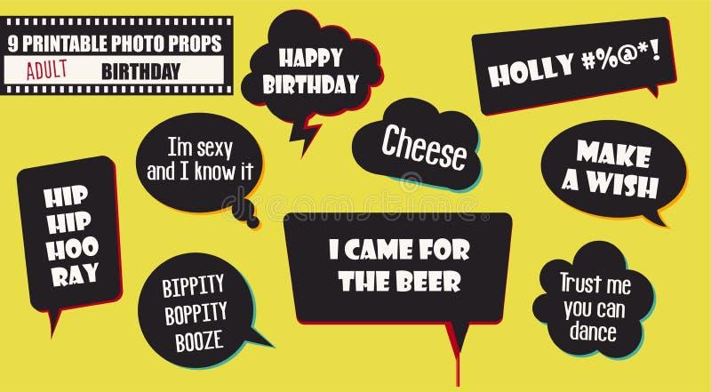 Elementi adulti di vettore dei puntelli della cabina della foto della festa di compleanno illustrazione vettoriale