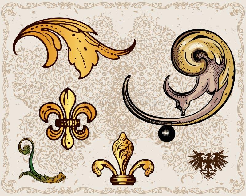 Elementi antichi della decorazione del blocco per grafici royalty illustrazione gratis