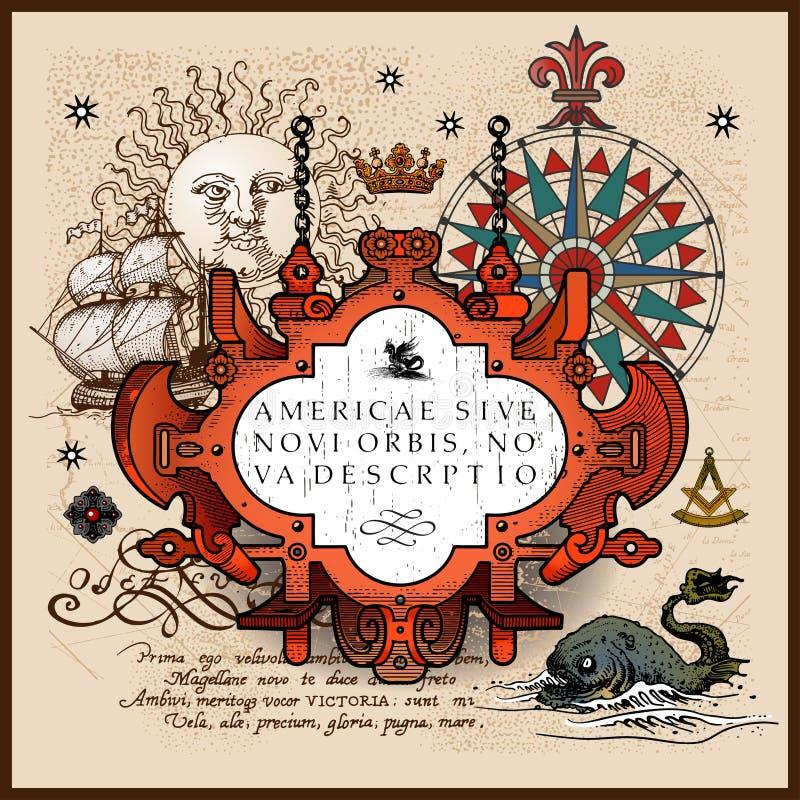 Elementi antichi della mappa royalty illustrazione gratis