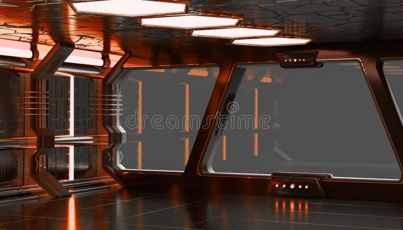 Elementi arancio della rappresentazione dell'interno 3D dell'astronave di questo fu di immagine royalty illustrazione gratis