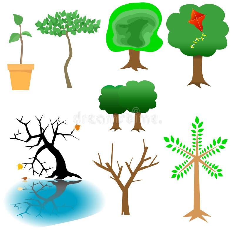 Elementi arborei - icone dell'albero illustrazione di stock