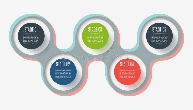 Elementi astratti del bottone, diagramma con 5 punti, opzioni o parti Concetto creativo per infographic Dati di gestione illustrazione vettoriale