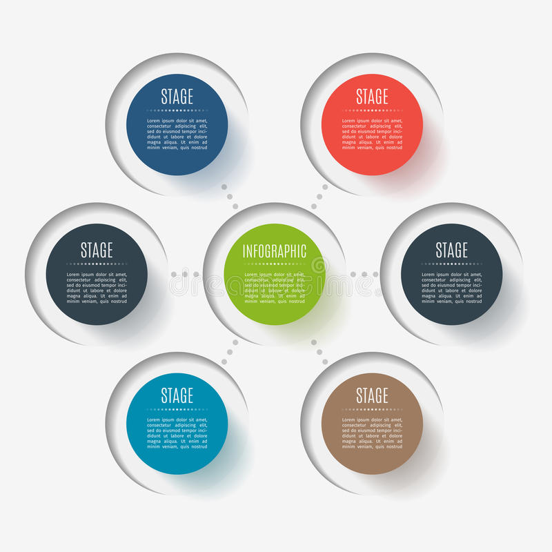 Elementi astratti del bottone, 6 rami, opzioni o parti Concetto creativo per infographic Visualizzazione di dati di gestione illustrazione vettoriale