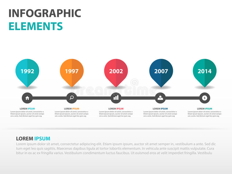 Elementi astratti di Infographics di cronologia di affari della carta stradale, illustrazione piana di vettore di progettazione d illustrazione di stock