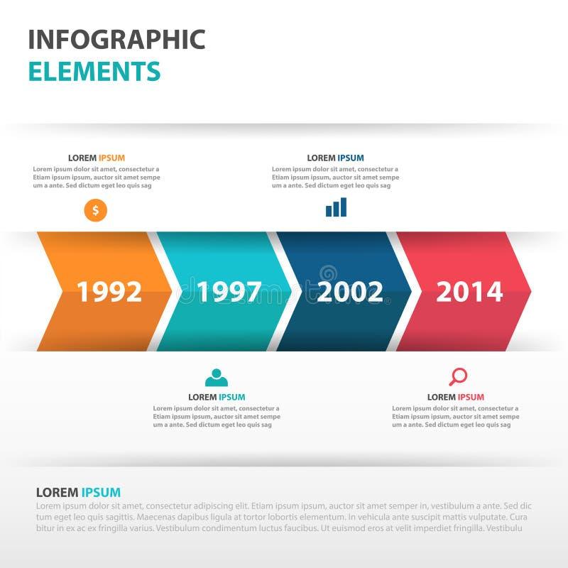 Elementi astratti di Infographics di cronologia di affari della freccia, illustrazione piana di vettore di progettazione del mode royalty illustrazione gratis