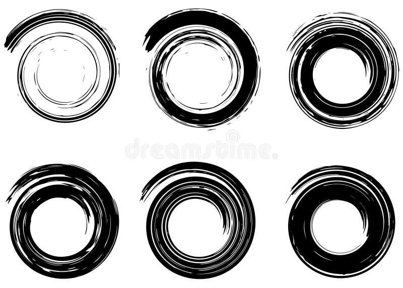 Elementi astratti di spirale di vettore, modelli geometrici radiali di lerciume illustrazione di stock
