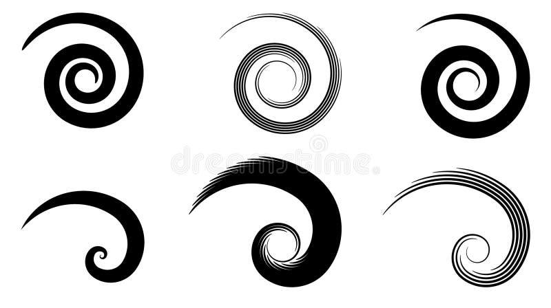 Elementi astratti di spirale di vettore, modelli a strisce geometrici radiali illustrazione di stock
