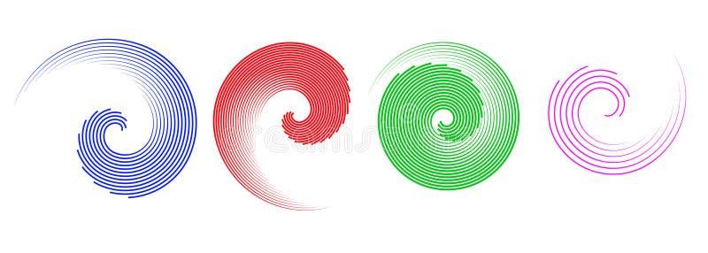 Elementi astratti di spirale di vettore, modelli a strisce geometrici radiali royalty illustrazione gratis