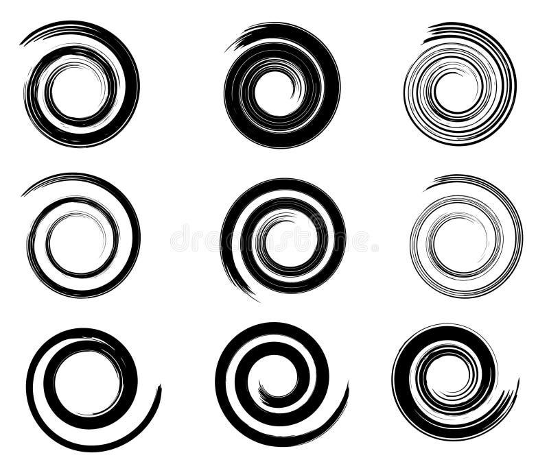 Elementi astratti di spirale di vettore, modelli a strisce geometrici radiali illustrazione vettoriale