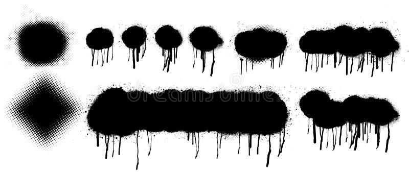 Elementi astratti di vettore della pittura di spruzzo illustrazione di stock