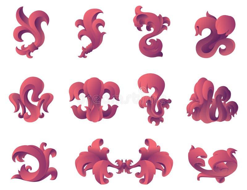 Elementi barrocco di disegno grafico di stile. illustrazione vettoriale