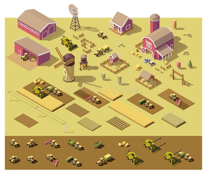 Elementi bassi isometrici dell'azienda agricola di vettore poli illustrazione di stock