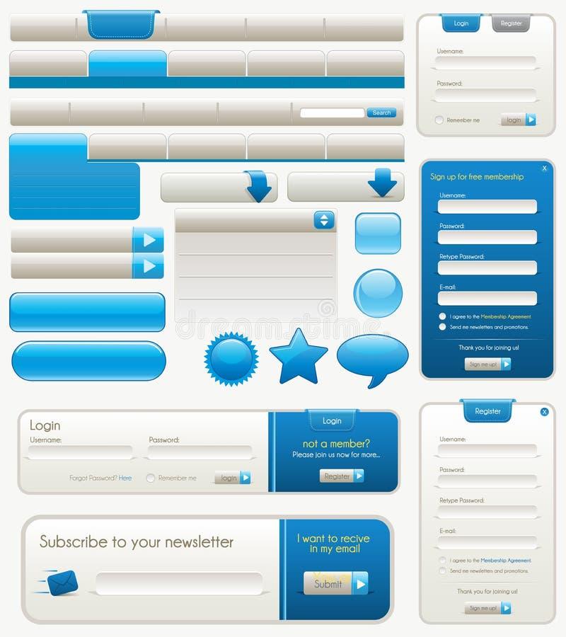 Elementi blu di disegno di Web site illustrazione vettoriale