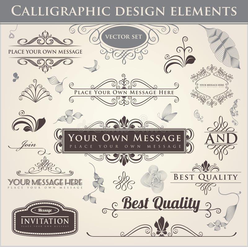 Elementi calligrafici di disegno illustrazione di stock