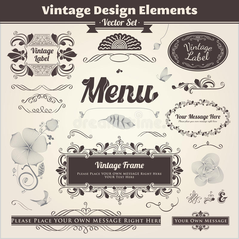 Elementi calligrafici di disegno illustrazione vettoriale