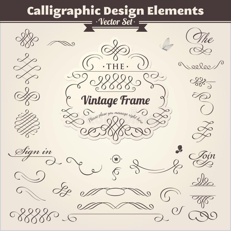 Elementi calligrafici di disegno royalty illustrazione gratis