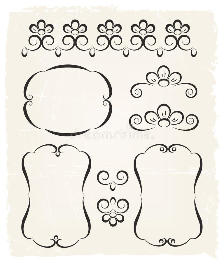 Elementi calligrafici di disegno dell'annata illustrazione vettoriale