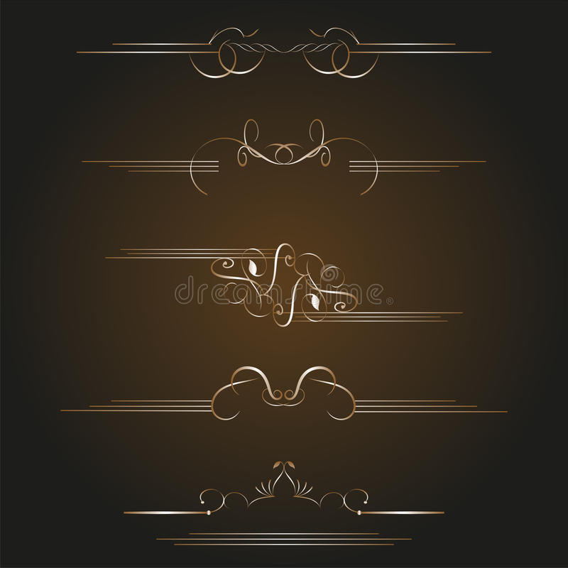 Elementi calligrafici di disegno dell'oro stabilito di vettore illustrazione di stock