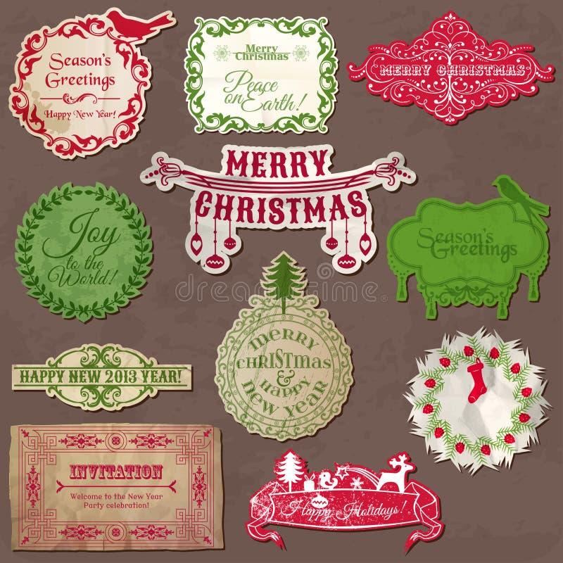 Elementi calligrafici di disegno di Natale royalty illustrazione gratis