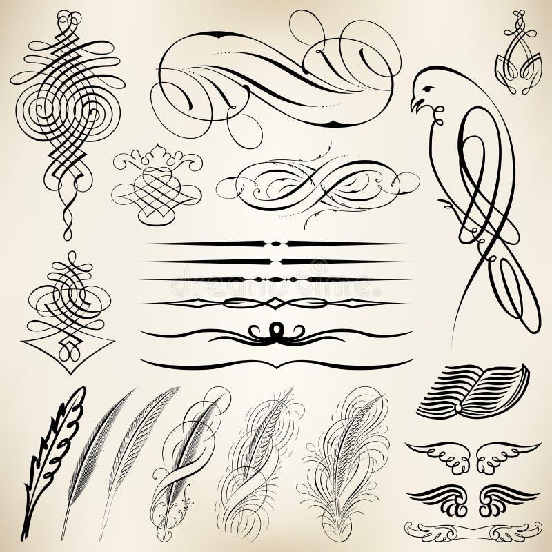 Elementi calligrafici di progettazione illustrazione di stock