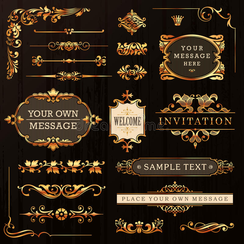 Elementi calligrafici dorati di progettazione illustrazione di stock
