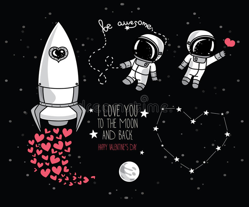 Elementi cosmici di scarabocchio sveglio per progettazione di San Valentino immagine stock libera da diritti