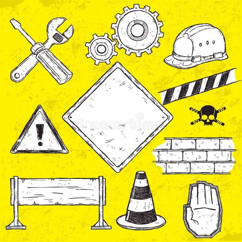 Elementi in costruzione di disegno illustrazione di stock